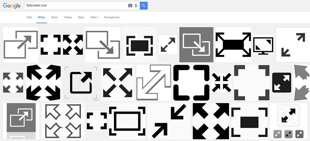 Google search results for full-screen icon