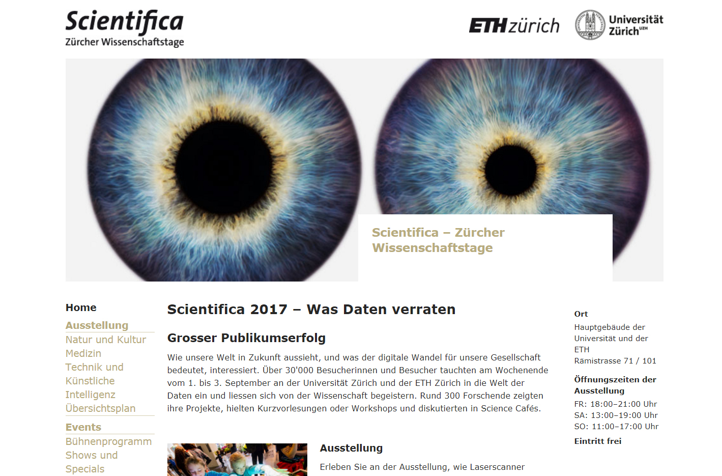 Scientifica zurich Bad UX - Link Color