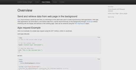 Screenshot Site AJAX Cross Origin