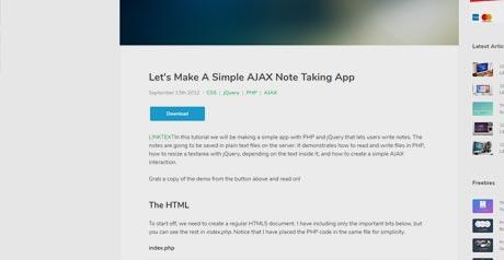 Screenshot Site Simple AJAX Note App