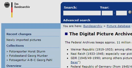 Screenshot Site The Digital Picture Archives of the Federal Archives