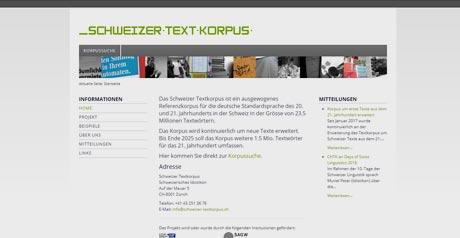 Screenshot Site Schweizer Textkorpus