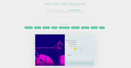 Screenshot Site SVG Color Filter Playground