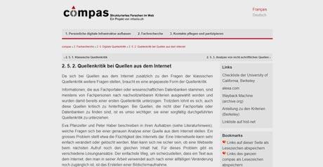 Screenshot Site Quellenkritik bei Quellen aus dem Internet