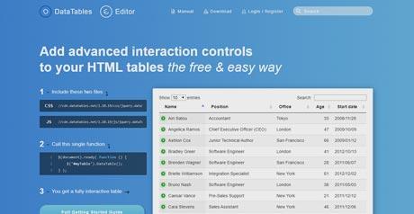 Screenshot Site DataTables
