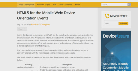 Screenshot Site HTML5 for the Mobile Web: Device Orientation Events