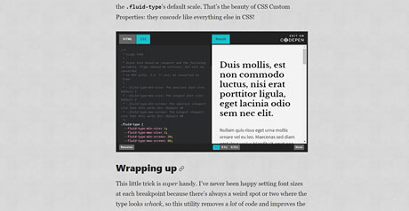 Screenshot Site Text Styling