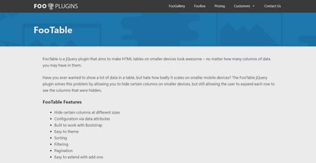 Screenshot Site FooTable
