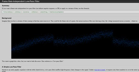 Screenshot Site Frame Rate–Independent Low–Pass Filter