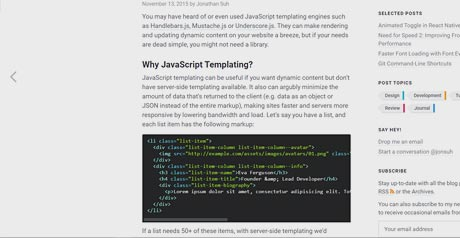 Screenshot Site JavaScript Templating Without a Library