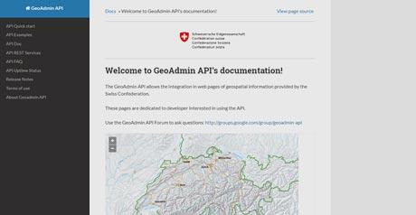 Screenshot Site GeoAdmin API''s documentation