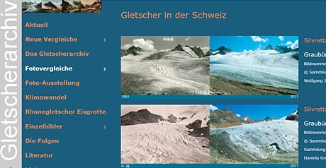 Screenshot Site Gletscherarchiv