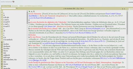 Screenshot Site Goethe–Wörterbuch