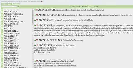 Screenshot Site Wörterbuchnetz