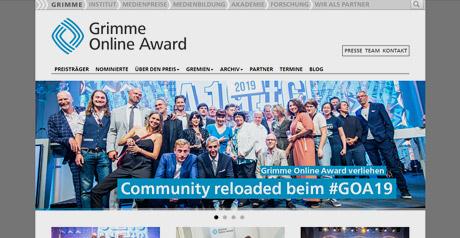 Screenshot Site Grimme Online Award