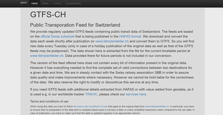 Screenshot Site GTFS–CH