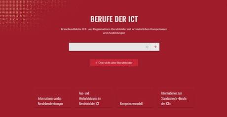 Screenshot Site Berufe der ICT