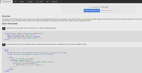 Screenshot Site JQuery Form Plugin