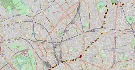 Screenshot Site Live Buses London