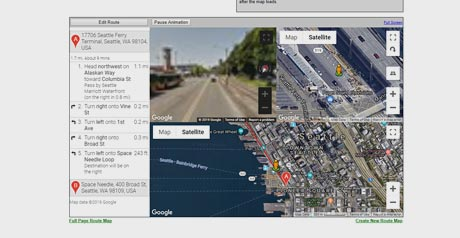 Screenshot Site Animated Route Maps