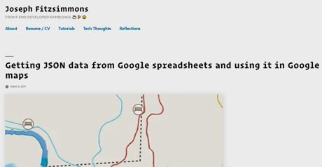 Screenshot Site Google spreadsheets / Google maps
