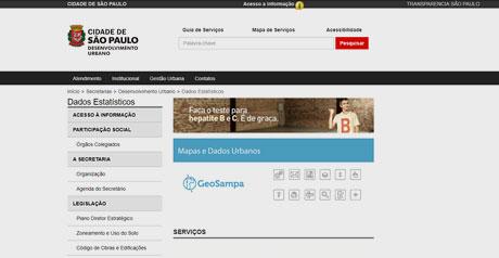 Screenshot Site Opendata São Paulo