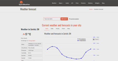 Screenshot Site Openweathermap