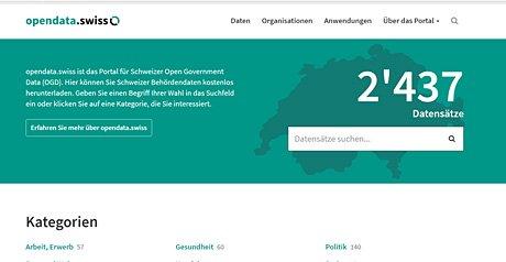Screenshot Site Offene Behördendaten der Schweiz