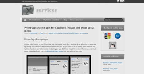Screenshot Site PhoneGap share plugin for Facebook, Twitter and other social media
