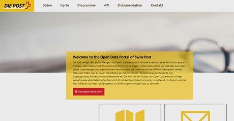 Screenshot Site Open Data Portal of Swiss Post