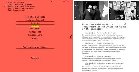 Screenshot Site Journalistenkodex