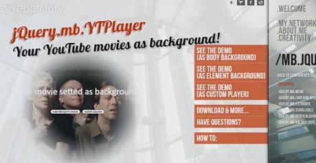Screenshot Site JQuery.mb.YTPlayer