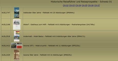Screenshot Site Historische Reiseführer und Reiseprospekte