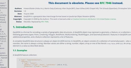 Screenshot Site The GeoJSON Format Specification