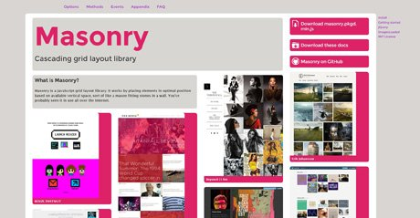 Screenshot Site Masonry. Cascading grid layout library