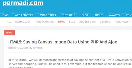 Screenshot Site HTML5: Saving Canvas Image Data Using PHP And Ajax