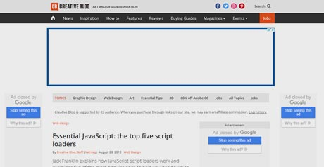 Screenshot Site Essential JavaScript: the top five script loaders