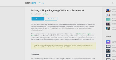 Screenshot Site Making a Single Page App Without a Framework