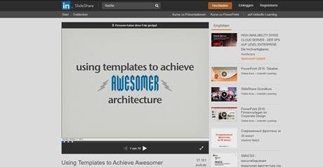 Screenshot Site Using Templates to Achieve Awesomer Architecture