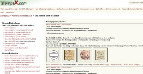 Screenshot Site Stempel Datenbank