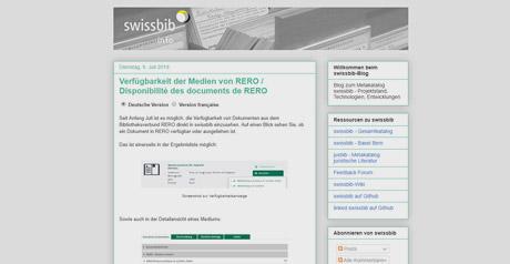 Screenshot Site swissbib info–blog