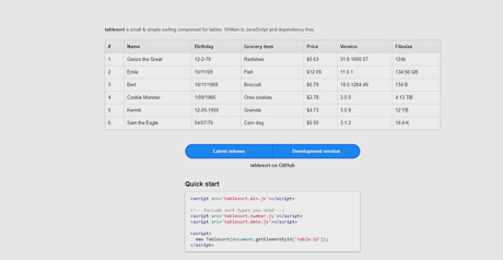 Screenshot Site HTML Table Sorting with JavaScript