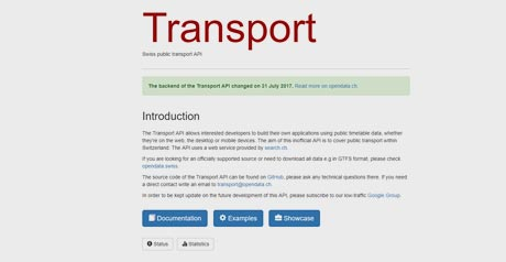 Screenshot Site Swiss public transport API