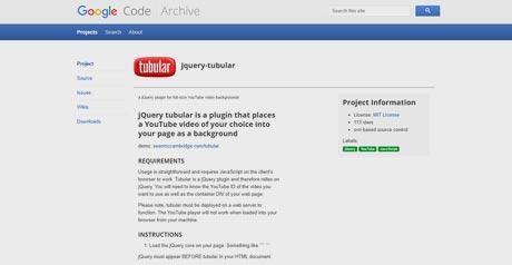 Screenshot Site JQuery tubular Plugin