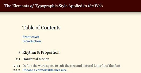 Screenshot Site The Elements of Typographic Style Applied to the Web