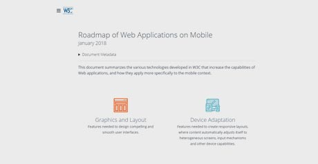 Screenshot Site Roadmap of Web Applications on Mobile, January 2018