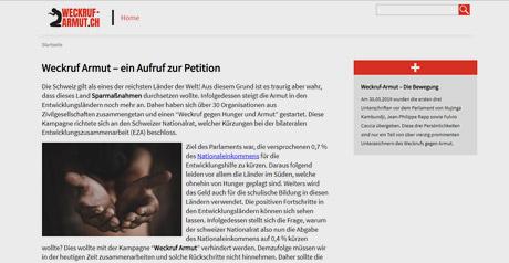 Screenshot Site Schweizer Nichtregierungsorganisationen